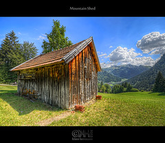 Mountain Shed (HDR) - Source Photos Available!!! (farbspiel) Tags: travel vacation plants mountain holiday alps green tourism photoshop germany logo landscape geotagg