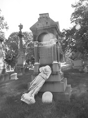 My camera wasn't clean, but it worked... (Star Cat) Tags: york nyc broken cemetery grave graveyard stone headless dead rip tomb tombstone fallen cemetery dirtycamera evergreens
