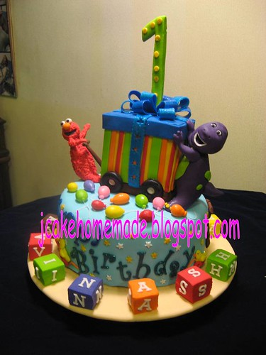 Barney and Elmo birthday cake