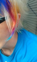 Rainbow flair! (purpleterrets) Tags: color hair rainbow style funky edgy rainbowhair multicoloredhair