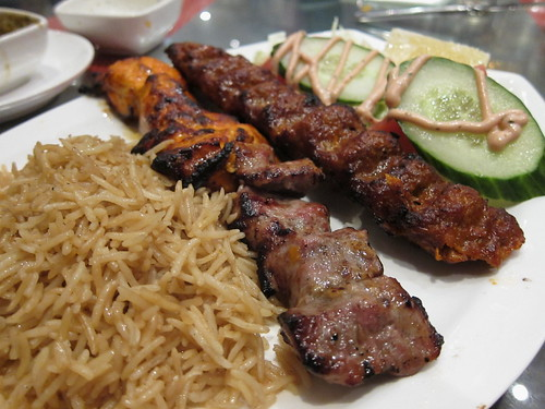 Mixed grill (chicken tikka, lamb shish and kofte)