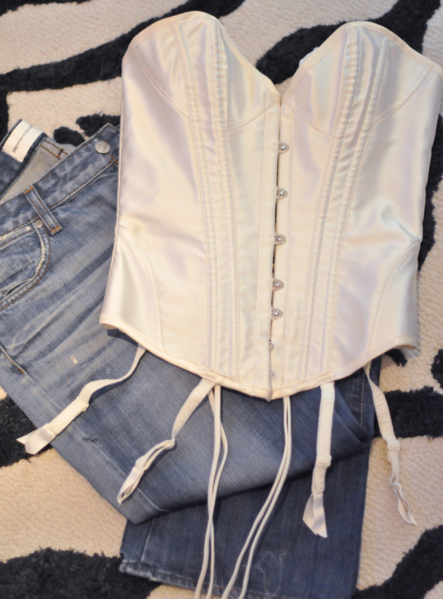 agent provocateur ivory corset  and jeans