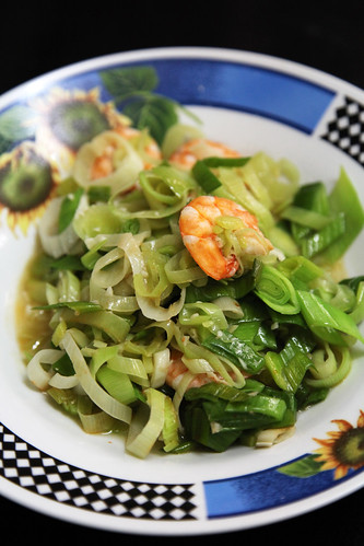stir fry leeks with prawns by melmok