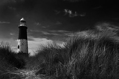 Dunes (Theresa Elvin) Tags: lighthouse beach monochrome coast seaside dunes peninsula eastyorkshire spurnpoint yorkshirewildlifetrust holdernesscoast blackwhitephotos humberestuary spurnheritagecoast