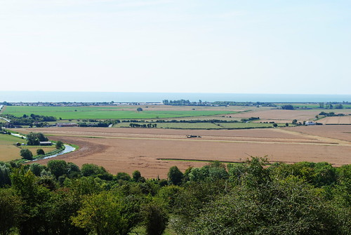 View from Port Lympne out across the Kent countryside to the sea