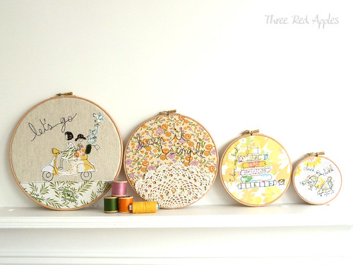 Hoop line up... embroidery hoop art by Three Red Apples
