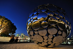 Sphere of Light, Brisbane #4 (fredfunk05) Tags: city blue reflection glass skyline night reflections river lights nikon dusk australia brisbane southbank bluehour brisbanecity d60 brisbaneskyline brisbanedusk