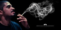 Smoke & Skull (Abdulaziz ALKaNDaRi | Photographer) Tags: portrait canon photography eos skull 50mm model flickr shot smoke explore hq ef 2011 abdulaziz   550d  t2i flickraward  alkandari blinkagain abdulazizalkandari