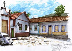 Largo do Ó Tiradentes (AdrianoMello) Tags: sketch minas gerais tiradentes draw markers adriano desenho sketchphoto cidadehistórica igrejadorosário hidrocor largodoó