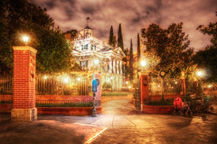 Disney Haunted Mansion (cstout21) Tags: california park ca travel chris trees vacation plants usa clouds landscape us scary colorful gloomy unitedstates disneyland ghost disney haunted spooky scream mickeymouse orangecounty anaheim walt legend westcoast lightposts hdr highdynamicrange hauntedhouse stout waltdisney abandond disneylandresort ngoc canon60d disneylandhauntedmansion stoutandstout northamera