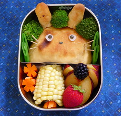Totoro Calzone Bento (sherimiya ) Tags: school cute face bread lunch kid corn blackberry sheri plum strawberries broccoli homemade totoro kawaii bento ghibli carrots calzone obento peapod charaben wholesomelunchbox sherimiya