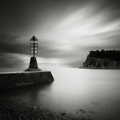 Teignmouth Speed (Andy Brown (mrbuk1)) Tags: ocean longexposure cloud seascape beach water square mono coast pier blackwhite moody shingle shoreline devon marker teignmouth 10stop nd110 poty11