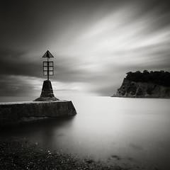 Teignmouth Speed (Andy Brown (mrbuk1)) Tags: ocean longexposure cloud seascape beach water square mono coast pier blackwhite moody shingle shoreline devon marker teignmouth 10stop nd110 poty11