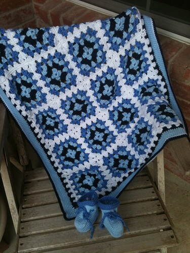 Blue Granny Square blanket with booties