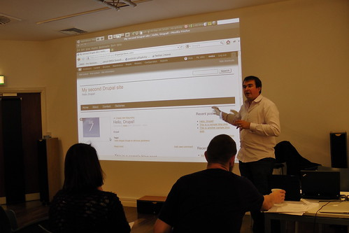 Acquia's Jakub Suchy providing the Hello Drupal! training programme at Drupal Discovery Day Brighton 2011