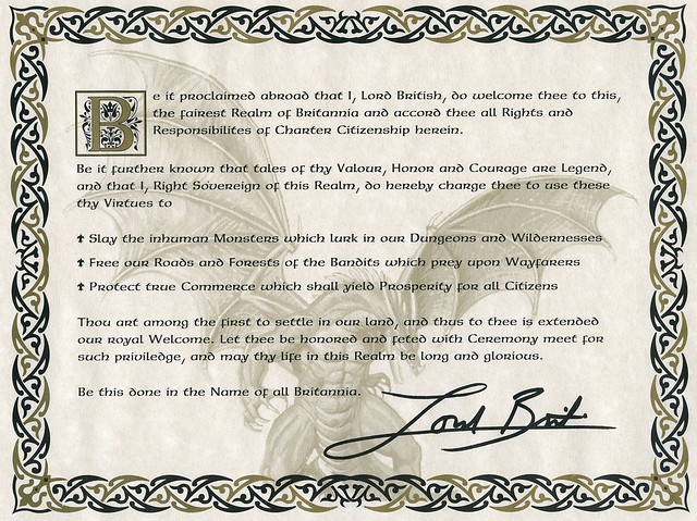 Ultima Online: Charter Edition: Certificate