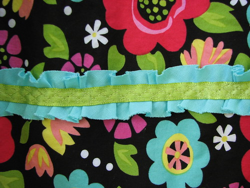 Ruffle and ribbon trim