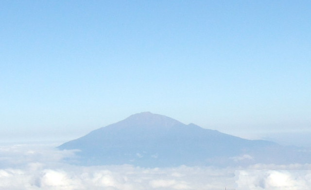 Mount Meru from Shira Plateau on Kilimanjaro