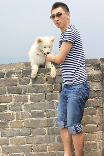 The owner and his dog at Mutianyu Great Wall Beijing CHina