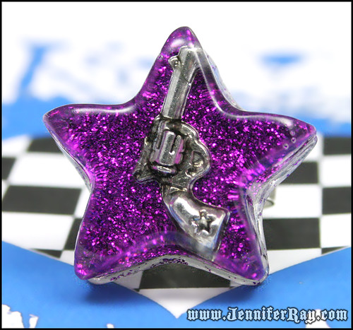 Locked and Loaded Ring - Gun in Purple Star Resin Silver Ring by JenniferRay.com