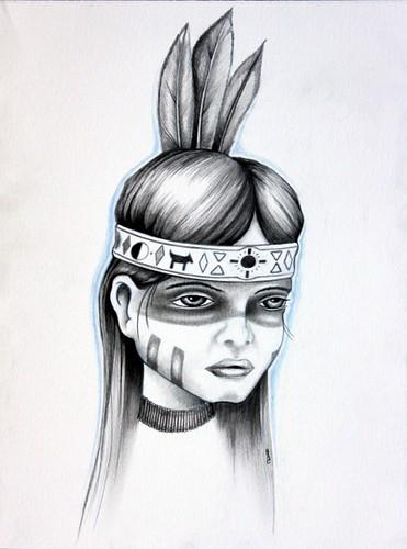 Native Girl Drawing