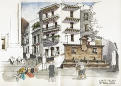 Cazorla, Plaza de Sta. Mara (Luis_Ruiz) Tags: plaza fountain square sketch spain drawing fuente andalusia dibujo cazorla urbansketchers