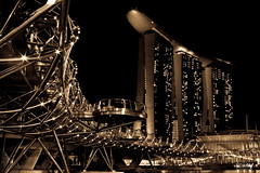 Helix (/migma/) Tags: bridge night marina canon bay singapore cityscape nightscape bridges helix sands sg
