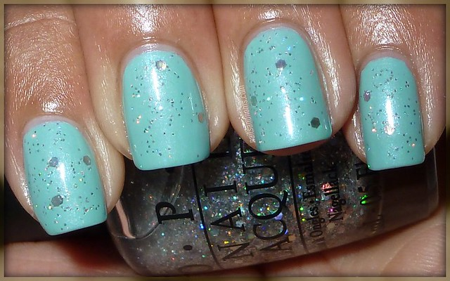 Essence 'I Like' & OPI 'Servin' Up Sparkle' (w/flash)
