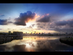 Four Bridges and Liverpool Dawn (Lee Carus) Tags: reflection tower skyline liverpool sunrise river four dawn pier dock head sony bridges alpha mersey merseyside beetham a55