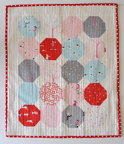 Sherbet Pips crib quilt front