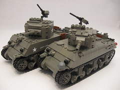 "M4A1 Sherman- comparison- New vs. Old (""Rumrunner"") Tags: world 2 army war tank lego wwii ii american ww2 ww division armored 3rd sherman worldwar2 allies m4a1 brickarms brickmania"