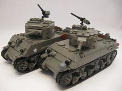 "M4A1 Sherman- comparison- New vs. Old (""Rumrunner"") Tags: world 2 army war tank lego wwii ii american ww2 ww division armored 3rd sherman worldwar2 allies m4a1 brickarms brickmania"