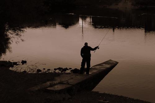 water river mono evening fishing fisherman dusk cast rod angler nikond5000