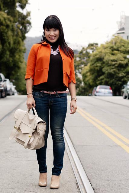 h&m orange swing jacket blazer, ann taylor brown knit shell, urban outfitters bdg grazer cigarette skinny jeans, pink skinny belt, mk5430, handbag heaven vieta veronique buckle satchel, target mossimo pearce camel pumps