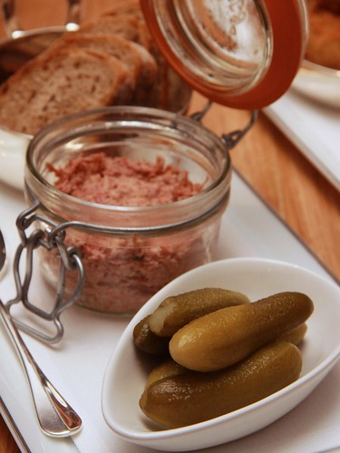 duck rillette, gherkins