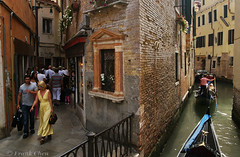 Different Ways over Land and Water, Venice (fcphoto) Tags: street trip travel venice vacation people italy building window walking boat canal europe tour streetphotography gondola venezia narrow sonyalpha fcphoto europe2011