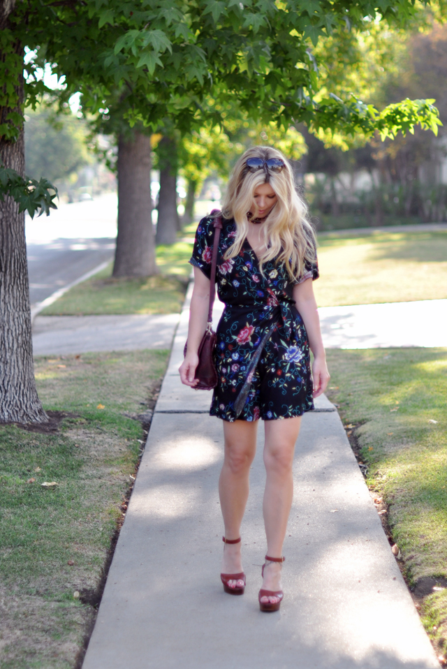 vintage floral embroidered romper with YSL sandals & wavy hair