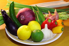Fresh Vegetable Still Life (Spice  Trying to Catch Up!) Tags: pink light red food white green art vegetables yellow japan fruit canon geotagged photography eos photo lemon colorful asia flickr colours shadows image cucumber picture asparagus garlic  5d onion okra   paprika redonion      welshonion                     myogaginger garlicstalks zingibermioga    mark       citrussphaerocarpa