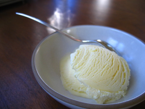 vanilla ice cream with spoon