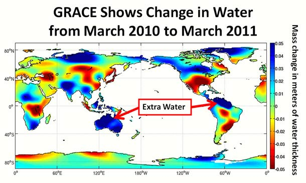 That Map Is From The Nasa German Aeroe Center S Gravity Recovery And Climate Experiment Grace Satellites Which Map Where Water Is On The Earth And