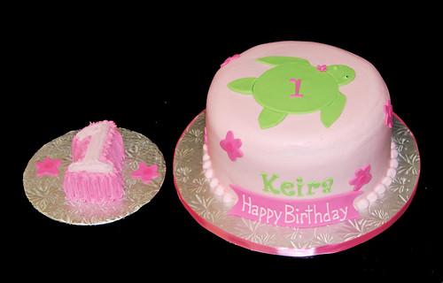1st birthday pink and green sea turtle Hawaiian cake and smash cake