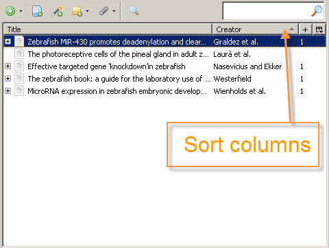 Sort columns