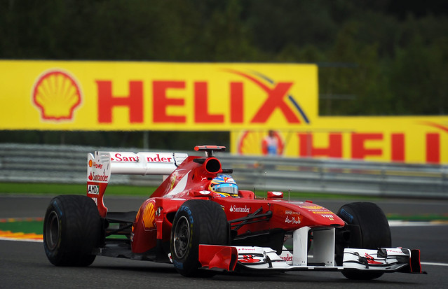 Fernando Alonso in the Ferrari 150° Italia at the 2011 Shell Belgian Grand Prix Free Practice