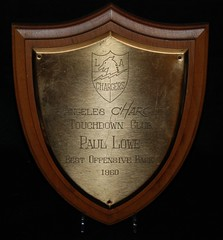 1960 Paul Lowe Los Angeles Chargers Best Offensive Back Award