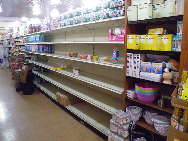 Almost-empty watershelves at C-Tow