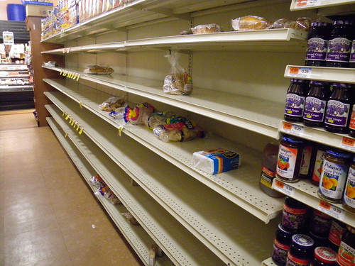 Almost-empty bread shelves at C-Town