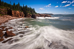 irene morning after (Nate Parker Photography) Tags: ocean longexposure seascape beach landscape rocks surf waves maine cliffs irene barharbormaine acadianationalpark haveaniceday bw110 hurricaneirene