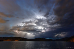 Hold on Tight......to your Dreams (Dylan MacMaster) Tags: summer storm reflection clouds twilight idaho lightning luckypeakreservior