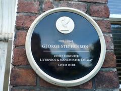 Photo of George Stephenson black plaque