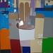 Medio vaso en el exterior( serie gran bazar) 55 x 55. técnica mixta, collage
